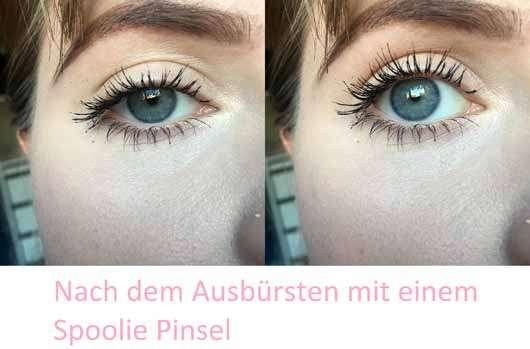 Benefit BADgal BANG! Volumen-Mascara - Wimpern nach dem Ausbürsten eines Spoolie Pinsels