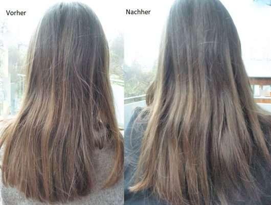 Haare vor/nach Anwendung des CD Naturkraft Volumen Shampoos