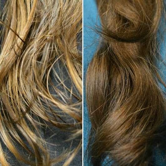 JOHN FRIEDA® Repair & Detox Care & Protect Spray/ links: Haare mit Spray frisch aufgetragen, rechts: getrocknet