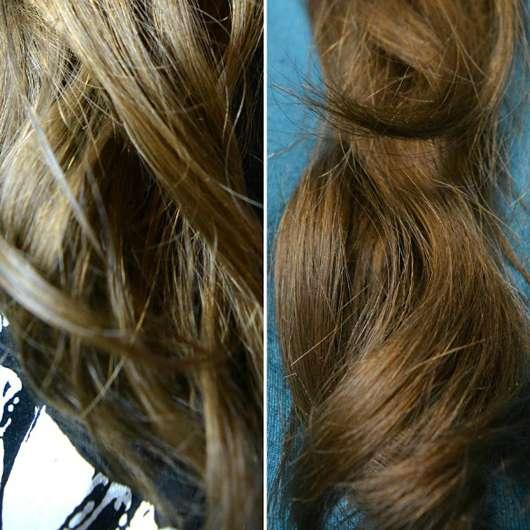 JOHN FRIEDA® Repair & Detox Care & Protect Spray/ links: Haare vor der Testphase - rechts: Haare nach der Testphase