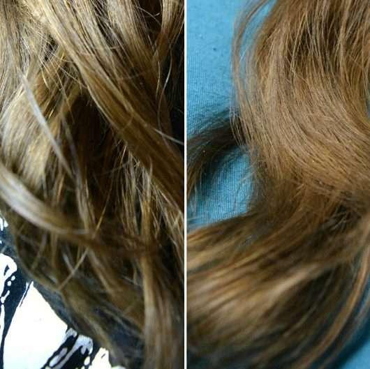Haare zu Testbeginn (links) / nach Testende (rechts) - John Frieda Repair & Detox Shampoo
