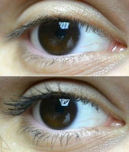oben: Wimpern ohne Mascara // unten: Wimpern mit L.O.V IllusionEYES 24h Volume & Length False Lash Effect Mascara, Farbe: 100 Black