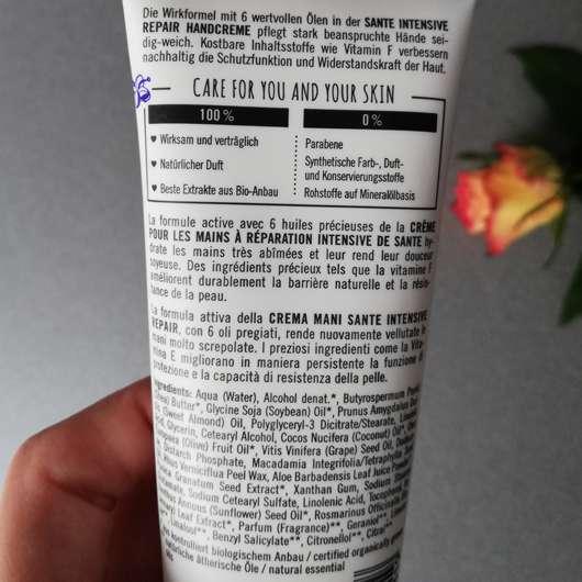 Verpackungsrückseite - SANTE Intensive Repair Handcreme Bio-Sheabutter & Macadamianussöl