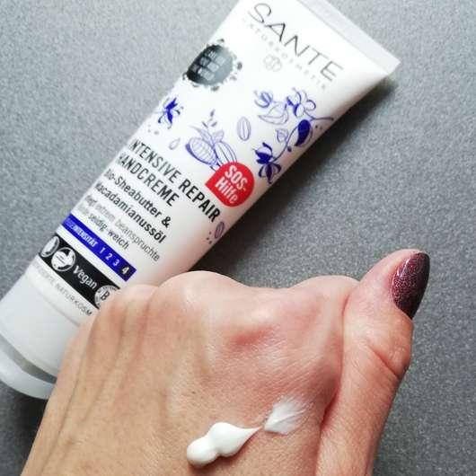 Konsistenz - SANTE Intensive Repair Handcreme Bio-Sheabutter & Macadamianussöl