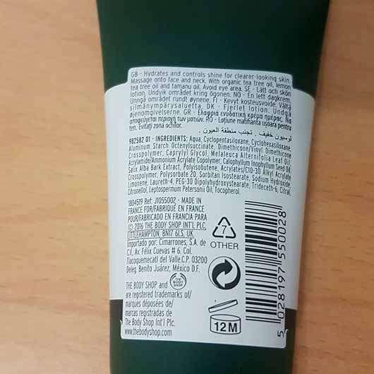 The Body Shop Tea Tree Mattifying Lotion - Tube Rückseite