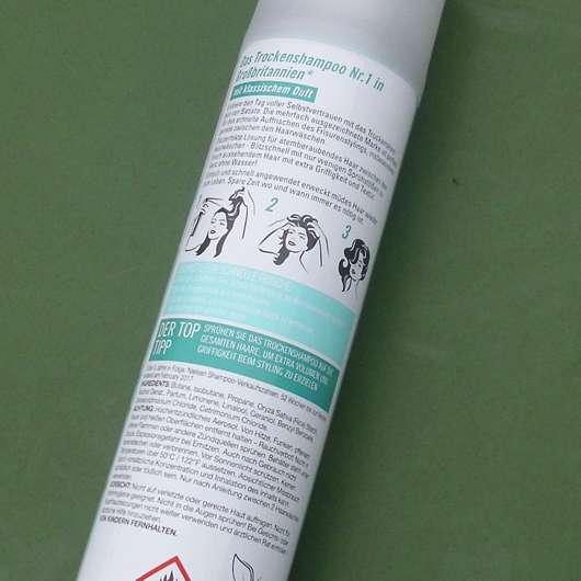 Verpackungsrückseite - Batiste Original Dry Shampoo