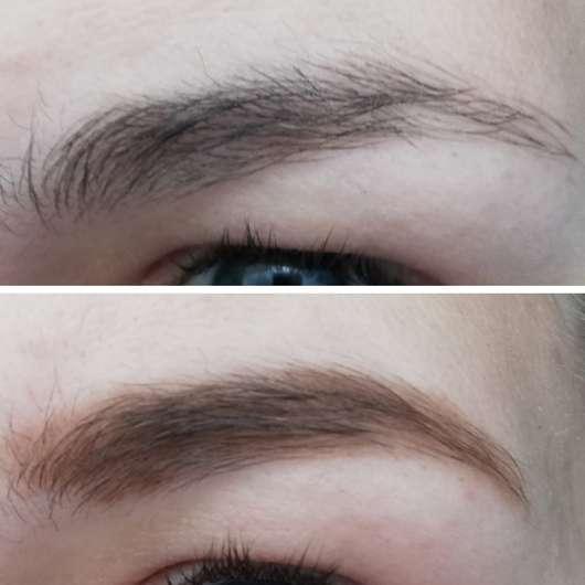 Augenbraue vor der Anwendung (oben) // nach der Anwendung (unten)