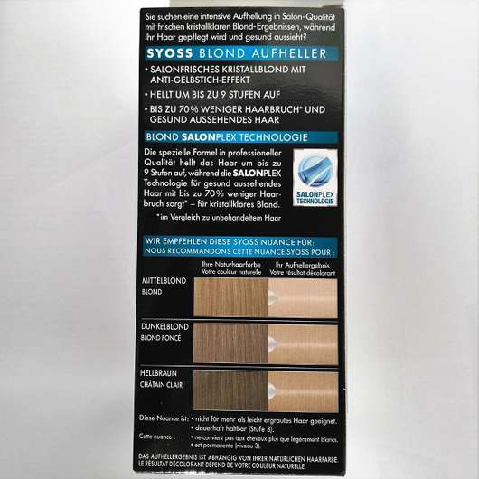 Verpackungsrückseite - Syoss Blond Aufheller 13-5 Platin Aufheller