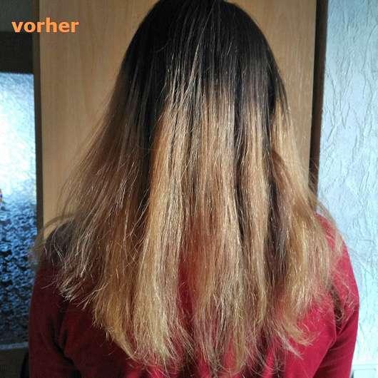 vor Anwendung des Syoss Blond Aufheller 13-5 Platin Aufheller