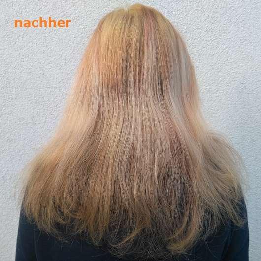 nach Anwendung des Syoss Blond Aufheller 13-5 Platin Aufheller