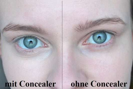 Augenpartie mit/ohne essence camouflage + healthy glow concealer, Farbe: light ivory