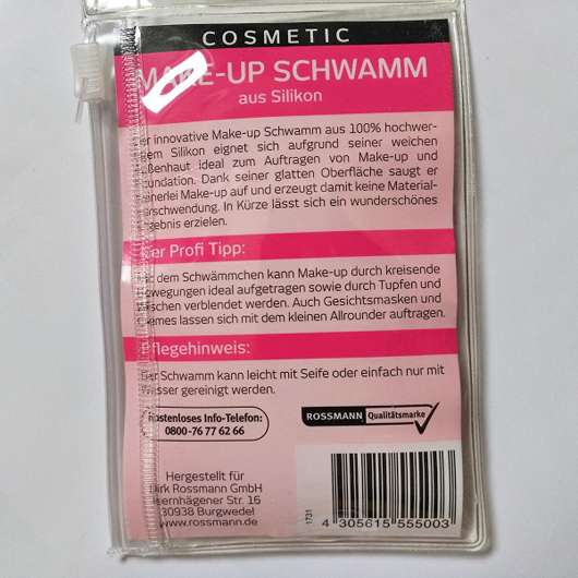 Verpackungsrückseite - for your Beauty Cosmetic Make-up Schwamm (aus Silikon)