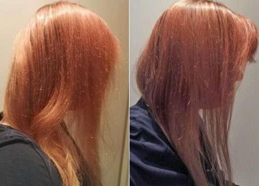 Haare vor/nach der Anwendung des Nature Box Glanz Sprays mit Aprikosen-Öl