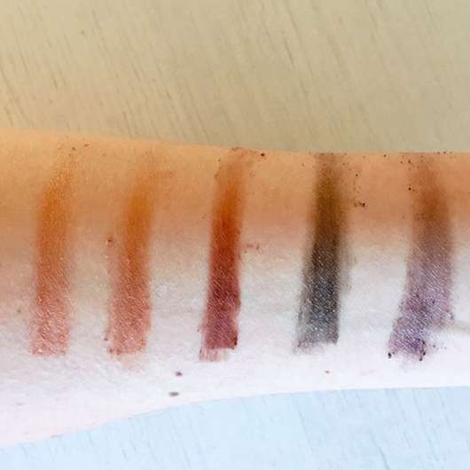Swatches mit Base (untere Reihe) - Zoeva Cocoa Blend Eyeshadow Palette