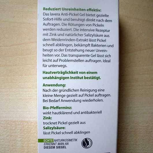 lavera Naturkosmetik Anti-Pickel Gel Bio-Minze, Zink & Salizylsäure - Herstellerangaben