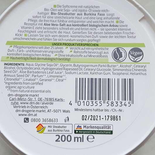 Verpackungsrückseite - alverde Softcreme Bio-Aloe Vera und Bio-Jojoba