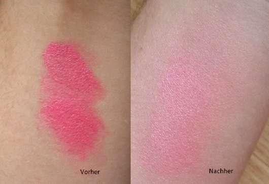 Swatch - Blush vor/nach dem Verblenden mit dem Make Up Factory Multitalent Face Brush