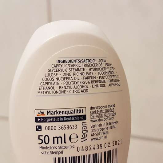 Verpackungsrückseite - Balea Sensitive Care Deodorant Roll-On