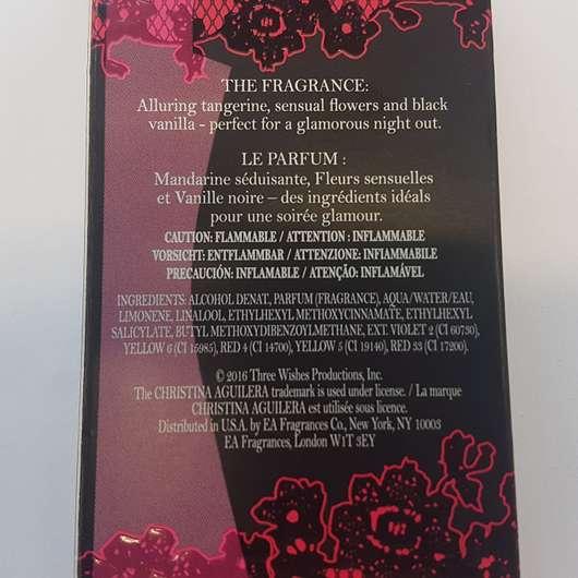 Verpackungsrückseite - Christina Aguilera By Night Eau de Parfum