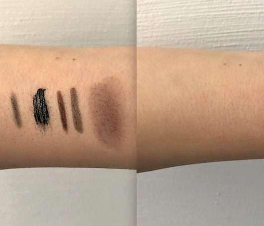 Unterarm mit diversen Mak-up Produkten vor/nach Anwendung des Dr. Hauschka Augen Make-up Entferners