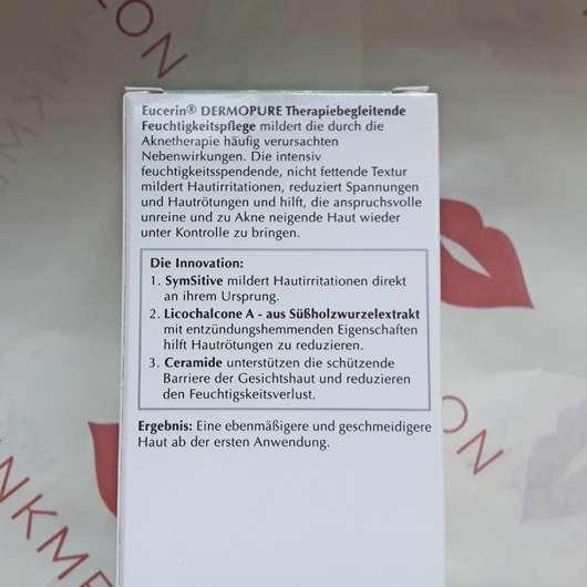 Verpackungsrückseite - Eucerin DERMOPURE Therapiebegleitende Feuchtigkeitspflege