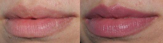 Lippen ohne / mit KISS Professional New York Luscious Gel Shine Lipstick, Farbe: 06 Taro Gets Sexier
