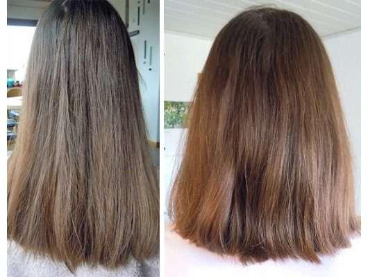 Haare zu Testbeginn (links) // nach Testende (rechts) - nju by xLaeta Cookie Shampoo (LE)