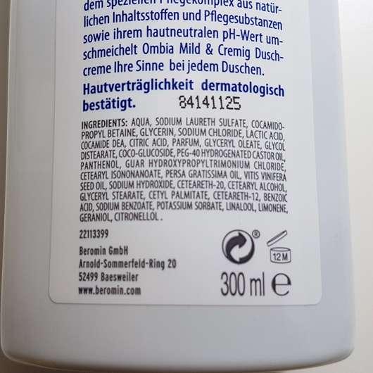 Ombia Mild & Cremig Duschcreme - Inhaltsstoffe