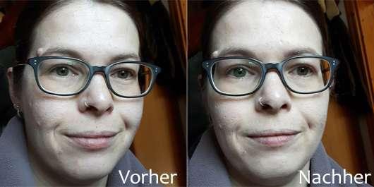 Maybelline Fit Me! Matte + Poreless Mattierendes Make-up, Farbe: 100 Warm Ivory - Gesicht ohne und mit Make-up