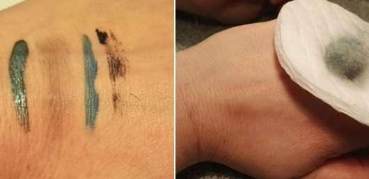 Handrücken mit Make-up (links) // nach Anwendung des AMU-Entferners (rechts)
