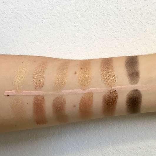 Swatches untere Reihe: unten mit Base // oben ohne Base - bh cosmetics Solar Flare 18 Color Baked Eyeshadow Palette
