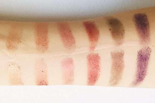 Swatches mittlere Reihe: unten mit Base // oben ohne Base - bh cosmetics Solar Flare 18 Color Baked Eyeshadow Palette