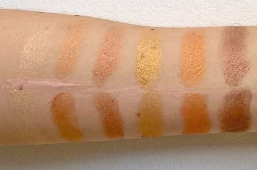 Swatches obere Reihe: unten mit Base // oben ohne Base - bh cosmetics Solar Flare 18 Color Baked Eyeshadow Palette
