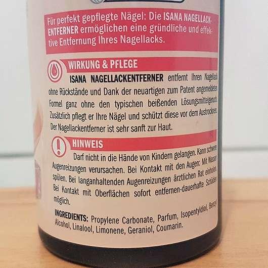 ISANA PROFESSIONAL Nagellackentferner acetonfrei (ohne stechenden Geruch) - Aufdruck auf der Verpackung