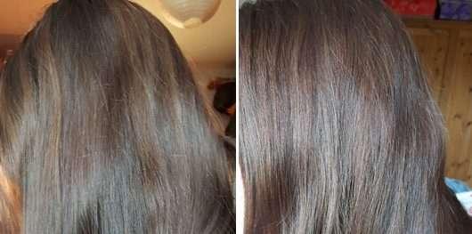 Haare vor der Anwendung (links) // nach der Anwendung (rechts) - Schwarzkopf #Pure Color Dauerhafte Gel-Haarfarbe, Farbe: 5.6 Schokosucht