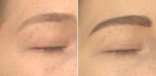 Augenbrauen ohne essence Augenbrauenstift (links) // mit essence Augenbrauenstift (rechts)