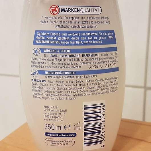 ISANA Cremedusche Hafermilch - Rückseite
