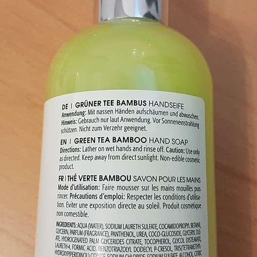 M. Asam Grüner Tee Bambus Handseife - Details auf dem Flaschenetikett