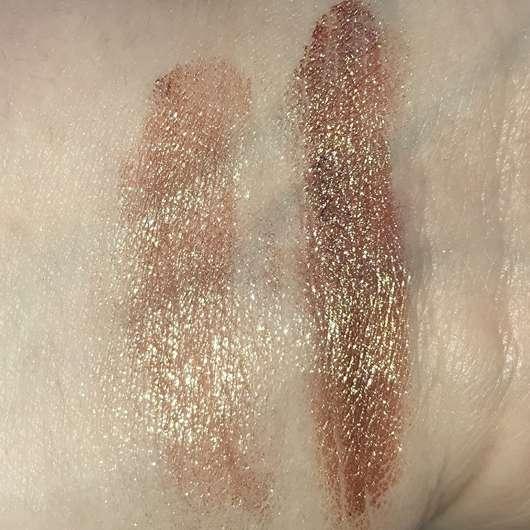 Sleek MakeUP Loose Pigment, Farbe: Trippin - Swatch (links trocken, rechts feucht) ohne Blitz