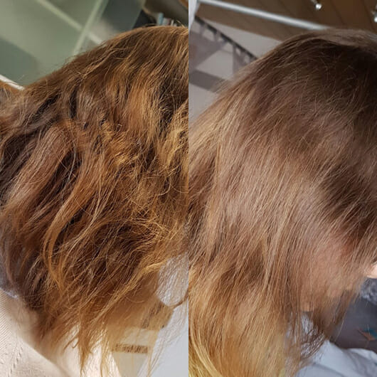Haare zu Testbeginn (links) // nach 3-wöchigem Test (rechts) - Dove Pflege Geheimnisse Detox Ritual Shampoo