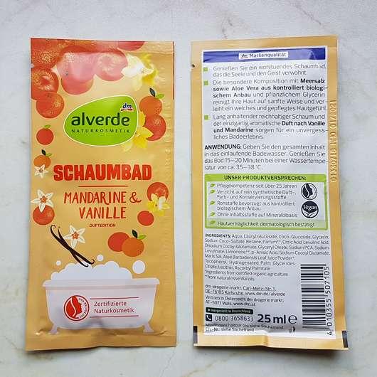 alverde Schaumbad Mandarine & Vanille - Details Rückseite