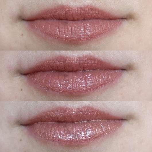 oben: Lippen mit Lippenstift // Mitte: mit einer zusätzlichen Schicht Lip Icing // unten: mit zwei zusätzlichen Schichten Lip Icing