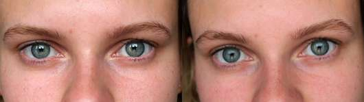 Make up Factory Eye Brow Fixing Gel, Farbe: 01 Transparent (LE) - links ohne, rechts mit Produkt
