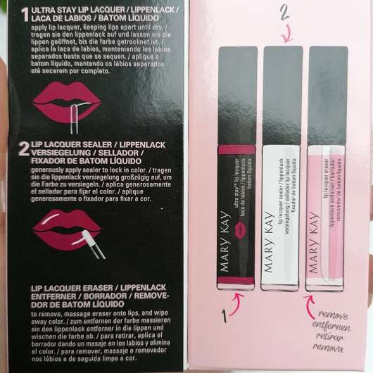 Mary Kay Ultra Stay Lip Lacquer Kit, Farbe: Plum (LE) - Anwendungshinweise in der Verpackung