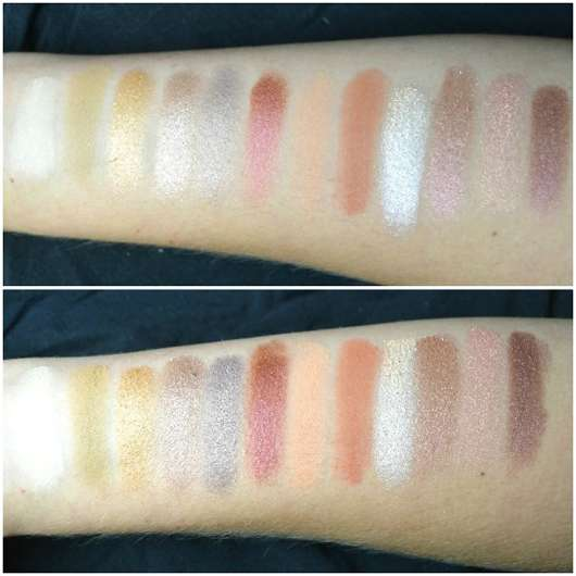 Misslyn Desert Night Metallic Eyeshadow Palette, Farbe: 02 Flaming Eyes (LE) - Swatches, unten mit Base