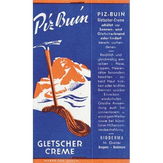 Abb.2: Piz Buin Gletschercreme, benannt nach dem höchsten Gipfel des Vorarlbergs. Die Marke Piz Buin entstand in der kleinen Stadt Bregenz in dem Betrieb von Marga Greiter (6).