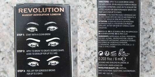Makeup Revolution Brow Tint, Farbe: Taupe - Details auf der Verpackung