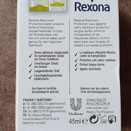 "Rexona Maximum Protection Anti-Transpirant Creme ""Stress Control"" - Details Verpackung"