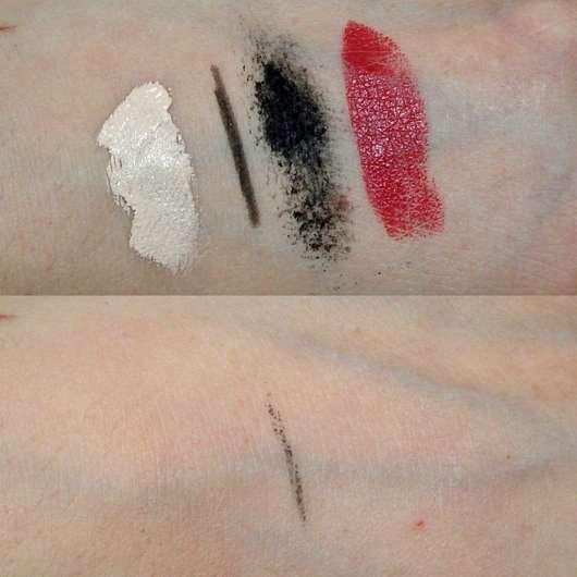 Dermaroller Skin Cleanser Reinigungssimulation anhand von Make-Up Swatches