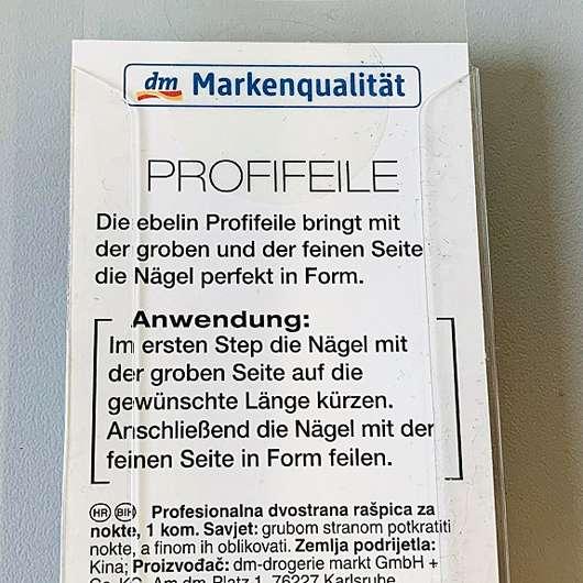 ebelin Profifeile (fein + grob) - Rückseite der Verpackung
